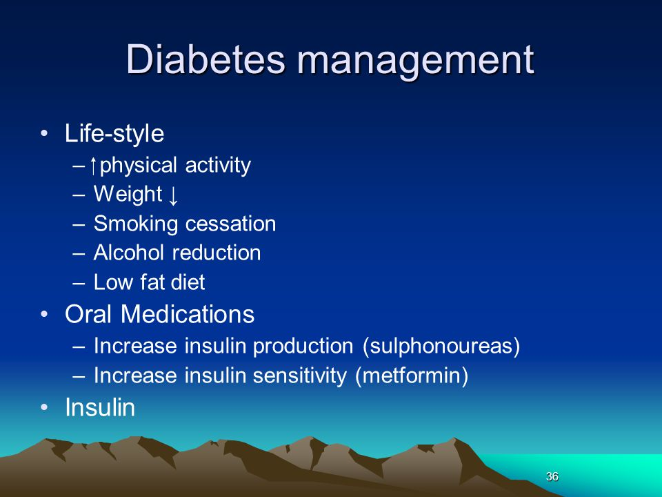 Diabetes management Life-style Oral Medications Insulin