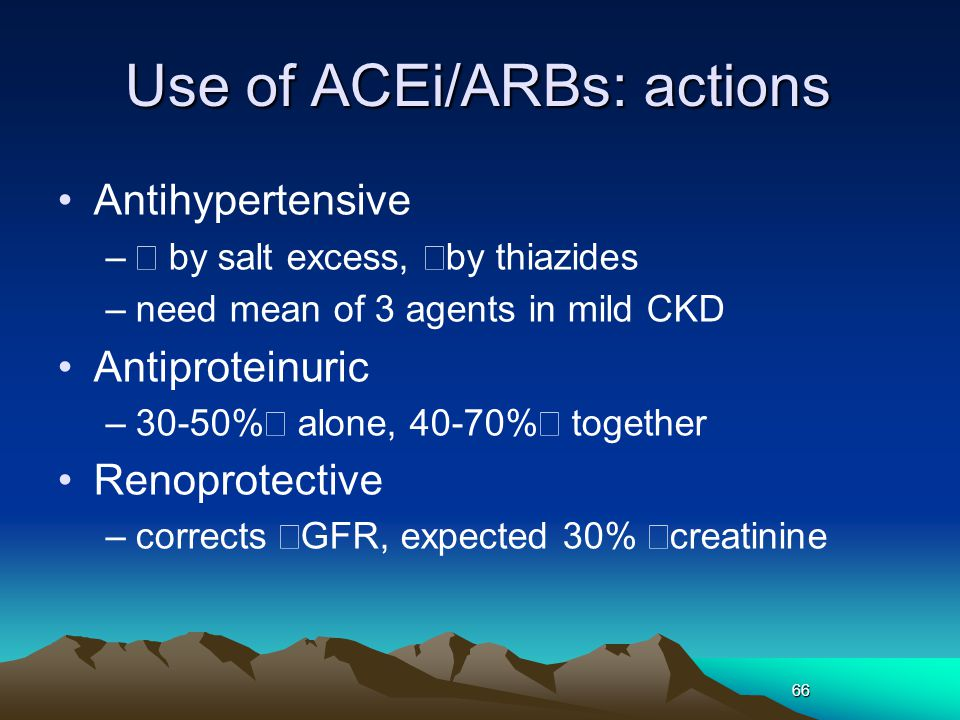 Use of ACEi/ARBs: actions