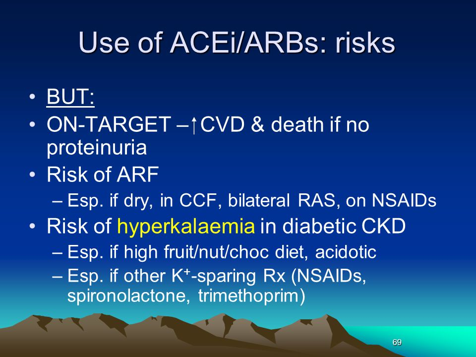 Use of ACEi/ARBs: risks