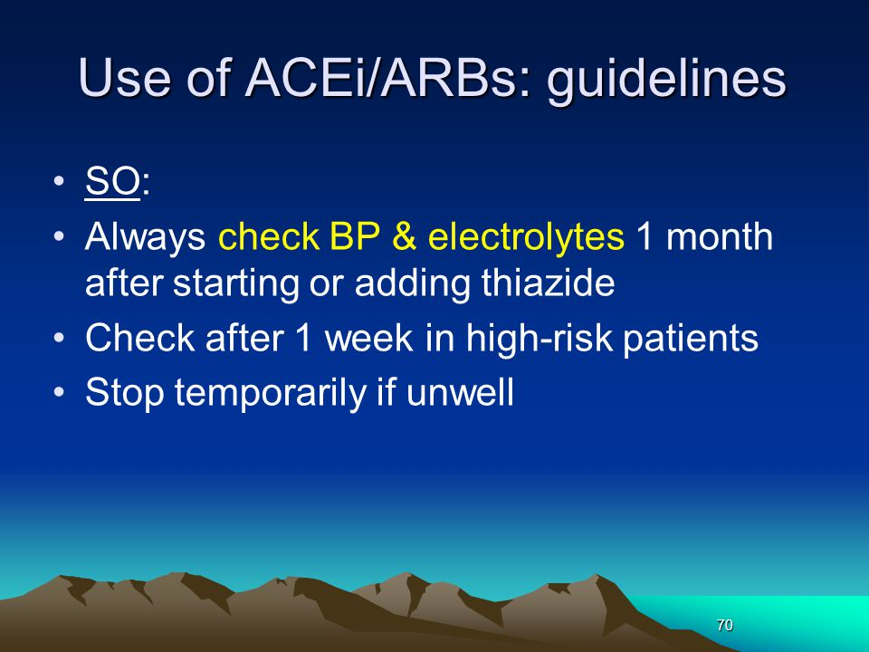 Use of ACEi/ARBs: guidelines