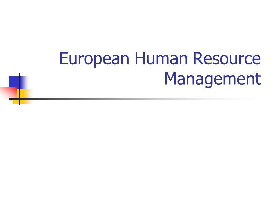 European Human Resource Management