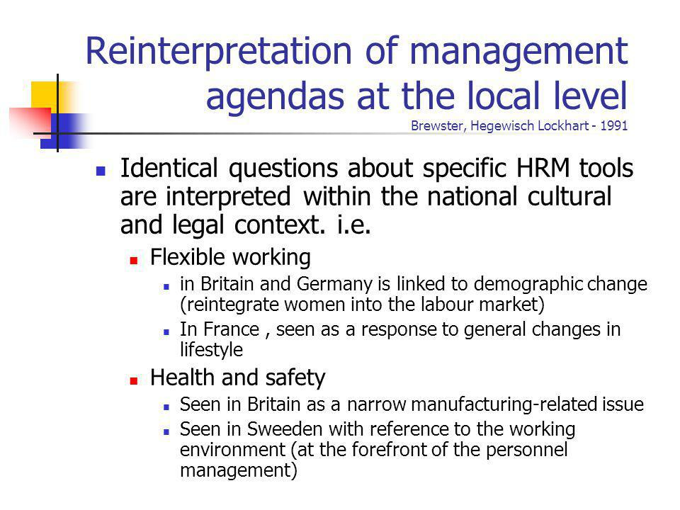 Reinterpretation of management agendas at the local level Brewster, Hegewisch Lockhart - 1991