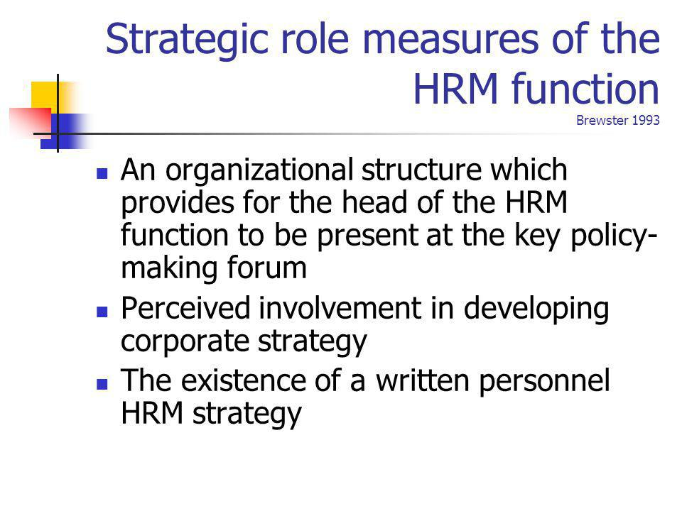 Strategic role measures of the HRM function Brewster 1993