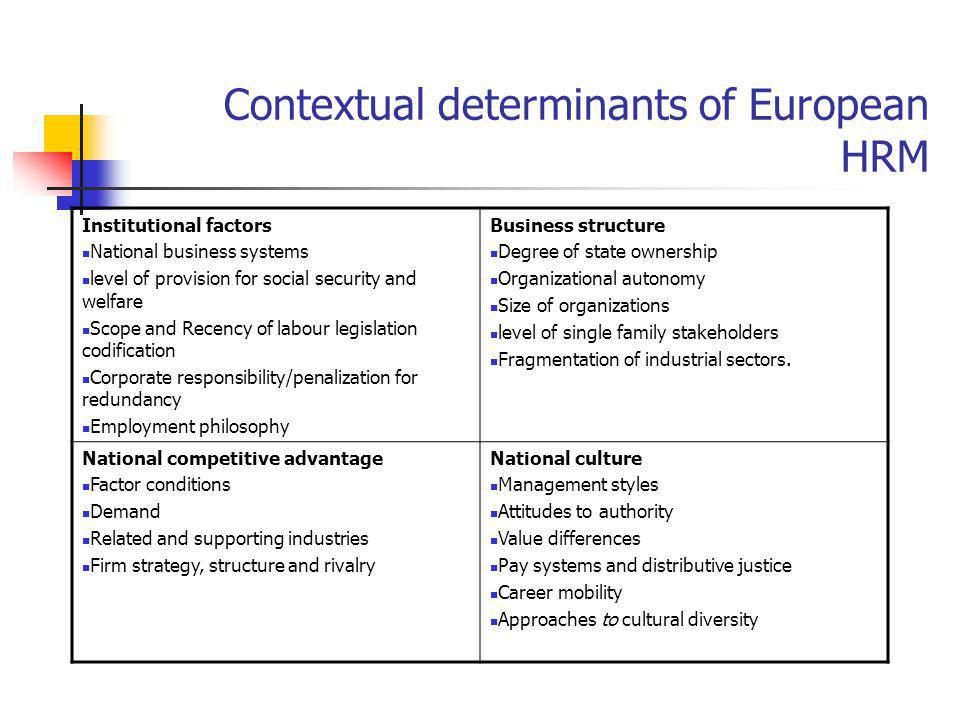Contextual determinants of European HRM