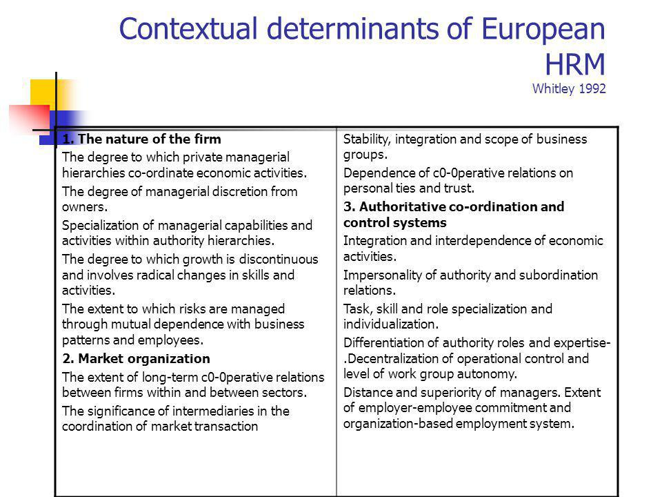 Contextual determinants of European HRM Whitley 1992