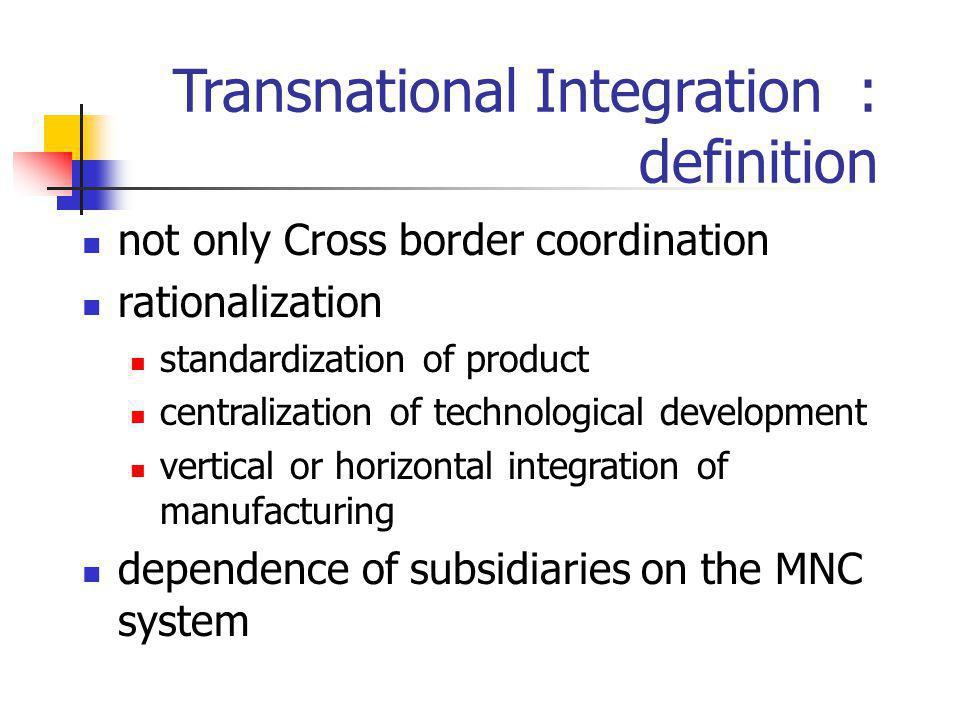 Transnational Integration : definition