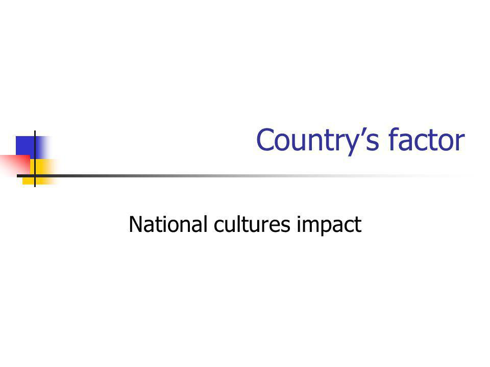 National cultures impact