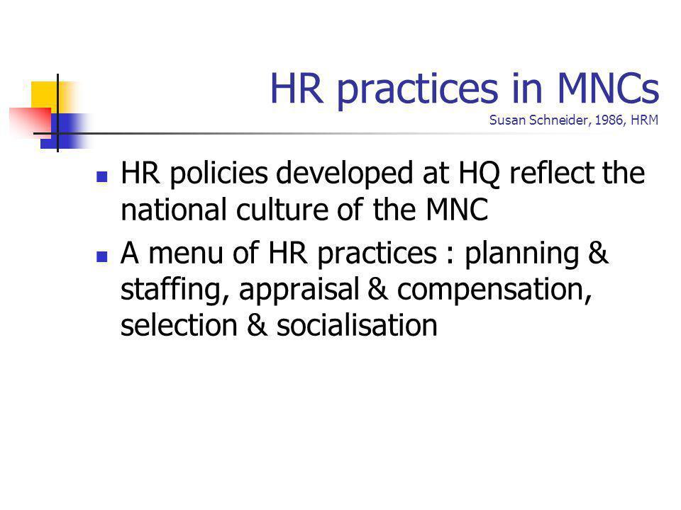 HR practices in MNCs Susan Schneider, 1986, HRM