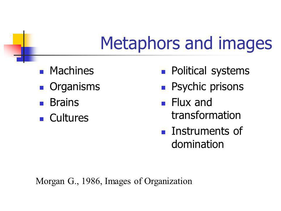 Metaphors and images Machines Organisms Brains Cultures