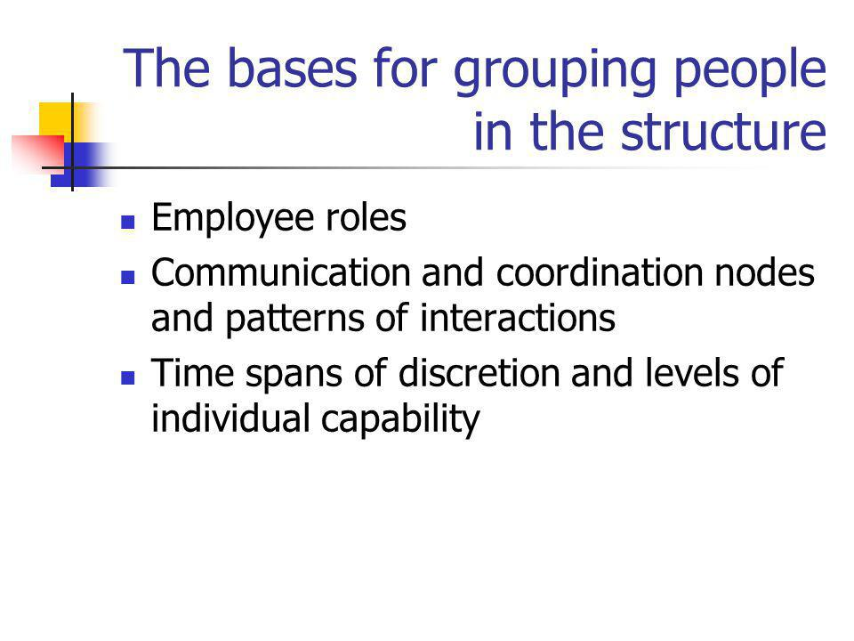 The bases for grouping people in the structure