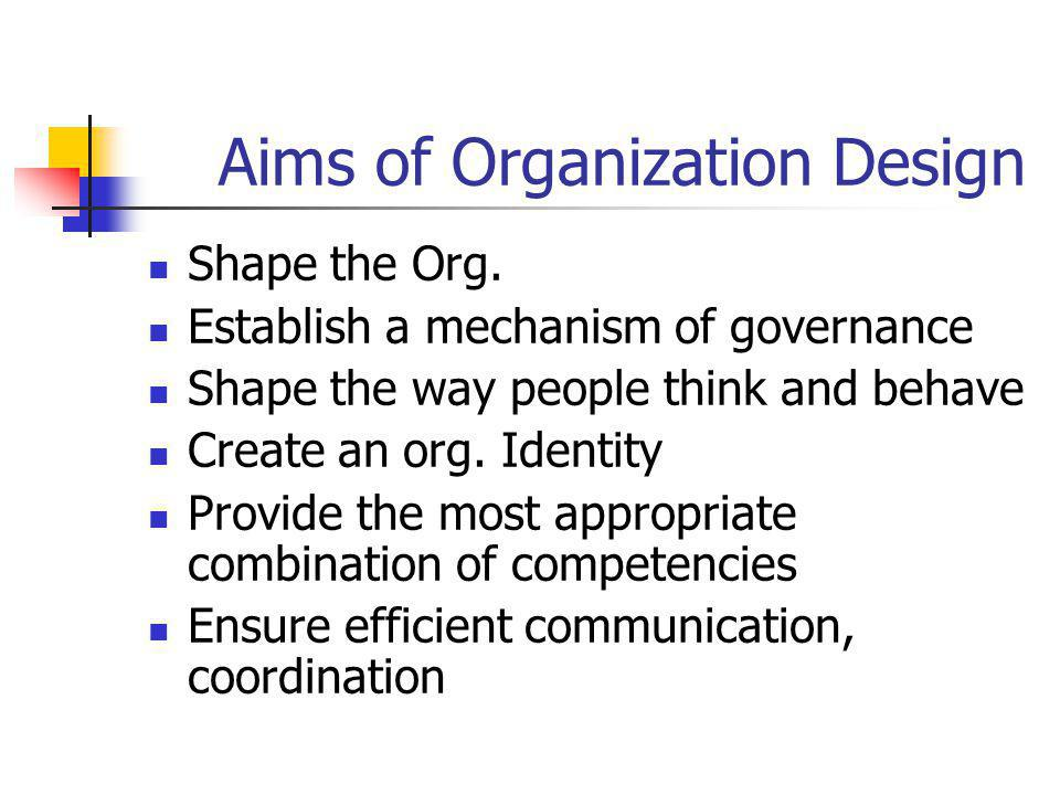 Aims of Organization Design