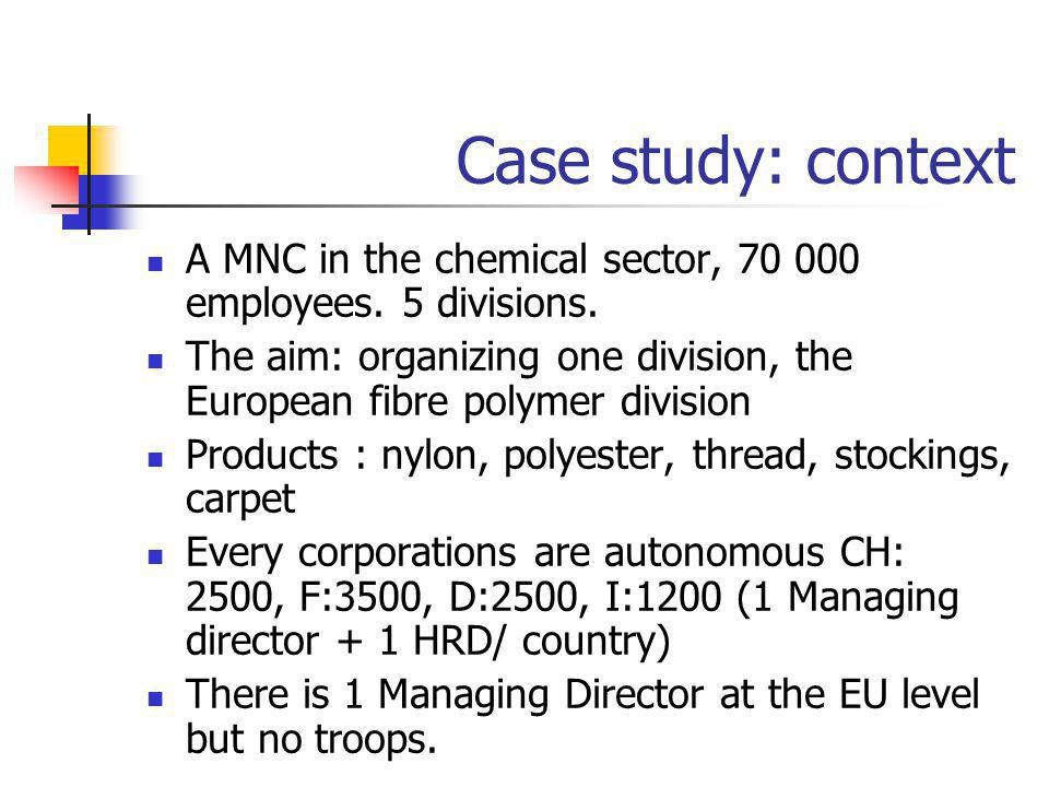 Case study: context A MNC in the chemical sector, 70 000 employees. 5 divisions.