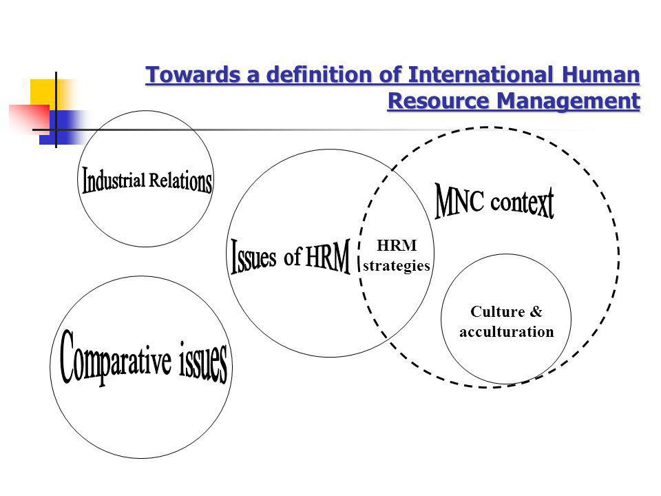 Towards a definition of International Human Resource Management