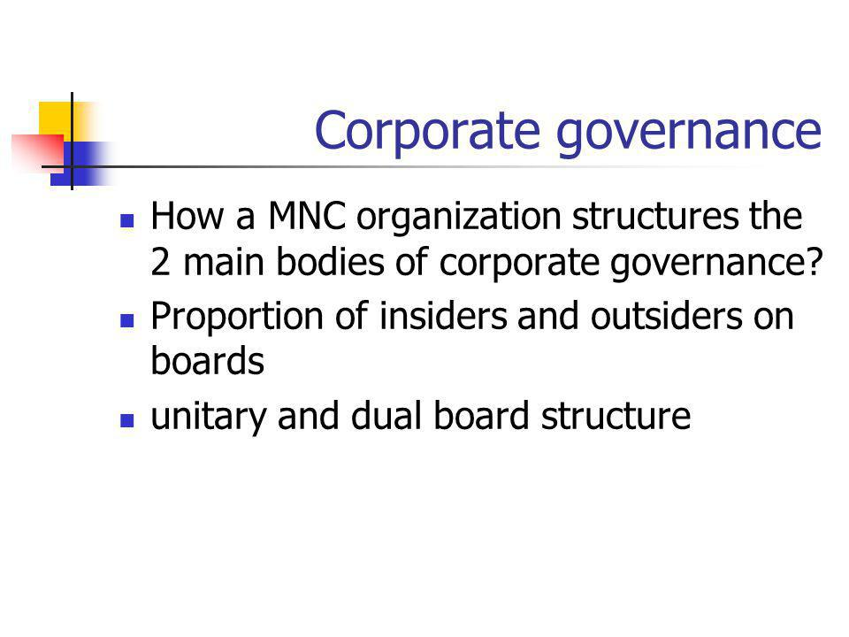 Corporate governance How a MNC organization structures the 2 main bodies of corporate governance Proportion of insiders and outsiders on boards.