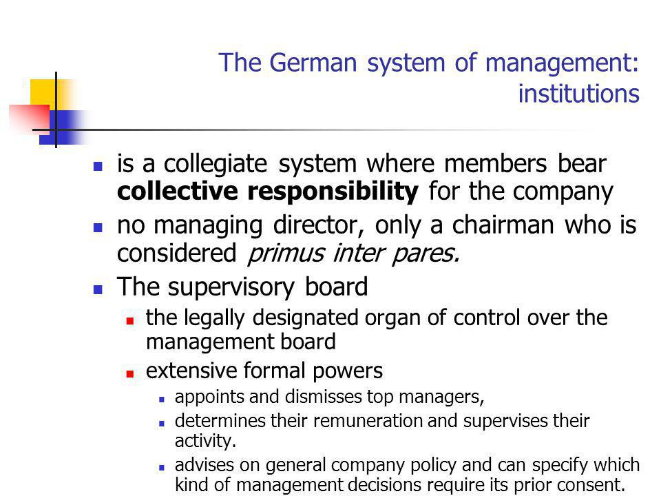 The German system of management: institutions