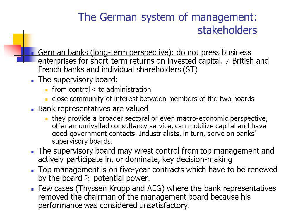 The German system of management: stakeholders