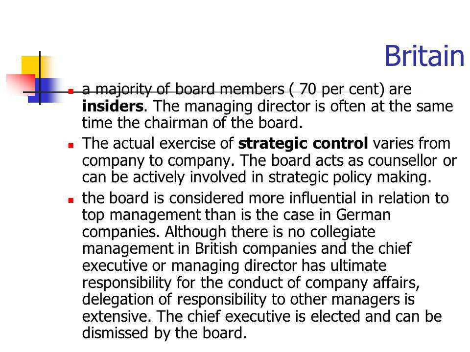 Britain a majority of board members ( 70 per cent) are insiders. The managing director is often at the same time the chairman of the board.