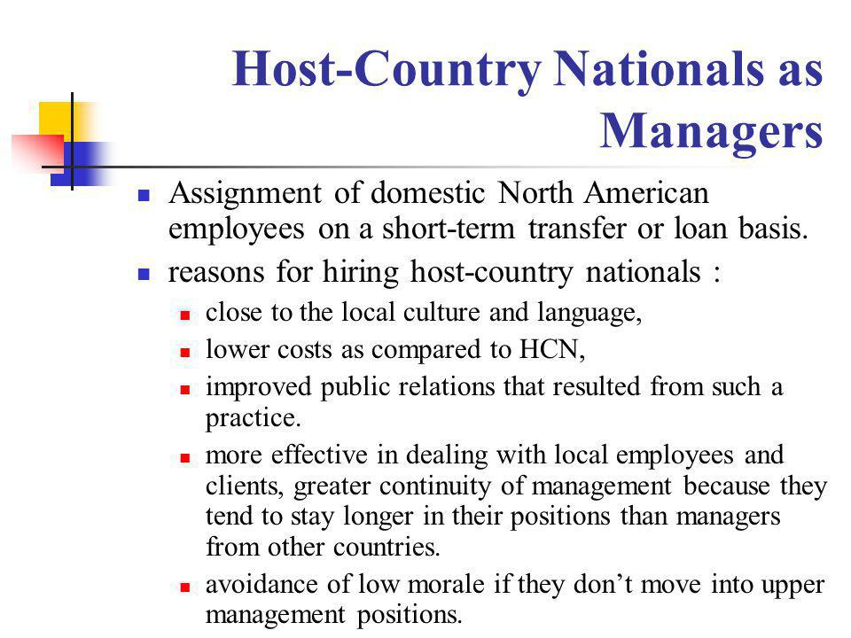 Host-Country Nationals as Managers