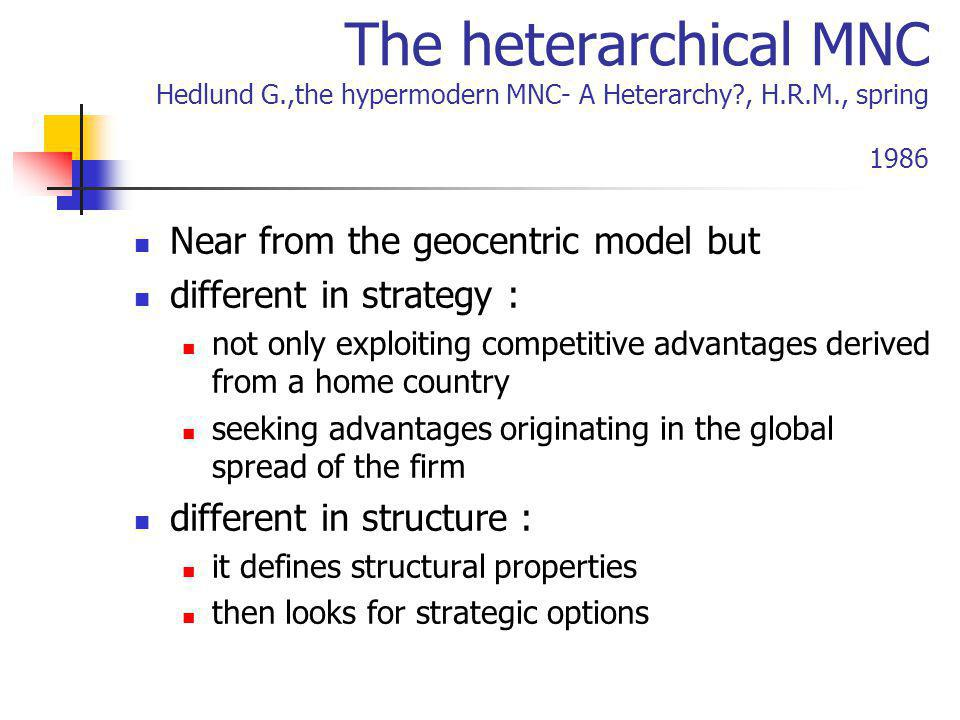 The heterarchical MNC Hedlund G. ,the hypermodern MNC- A Heterarchy