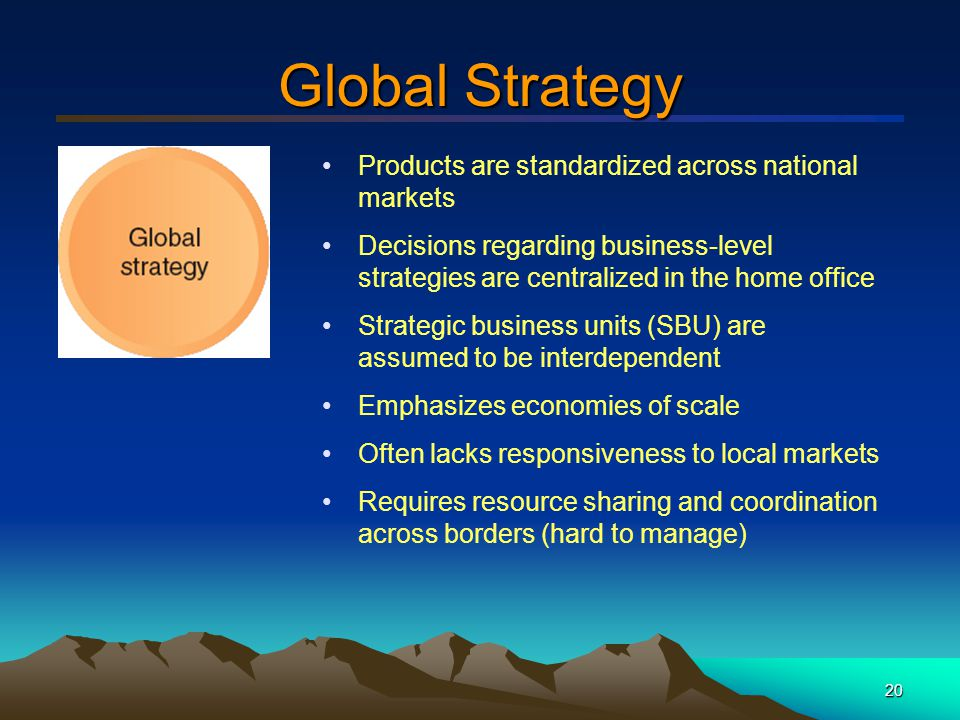 Global Strategy Products are standardized across national markets