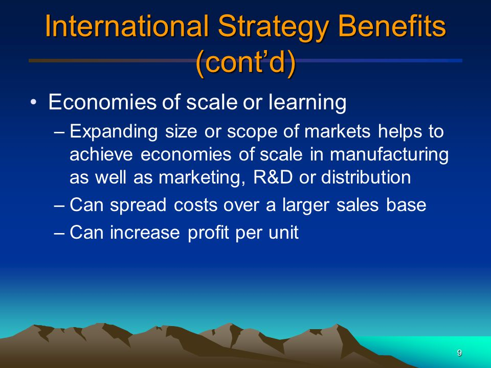 International Strategy Benefits (cont'd)