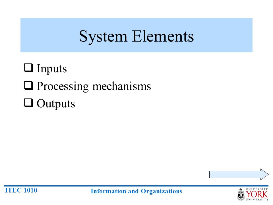 System Elements Inputs Processing mechanisms Outputs