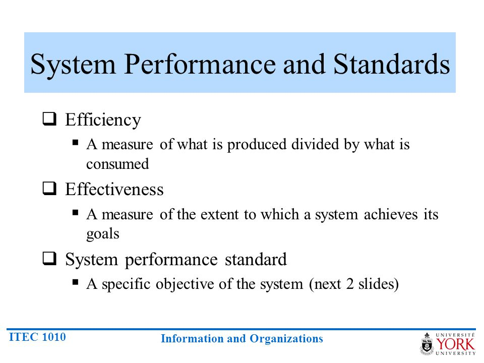 System Performance and Standards