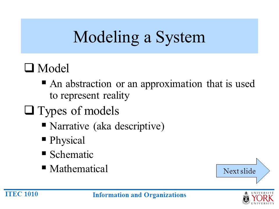 Modeling a System Model Types of models