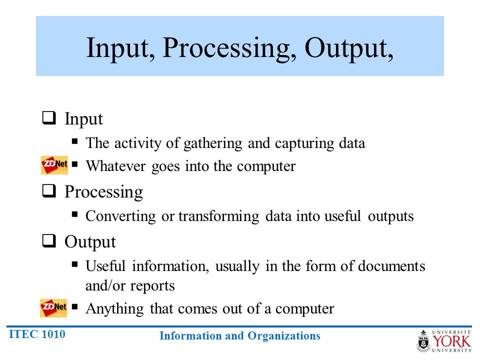 Input, Processing, Output,