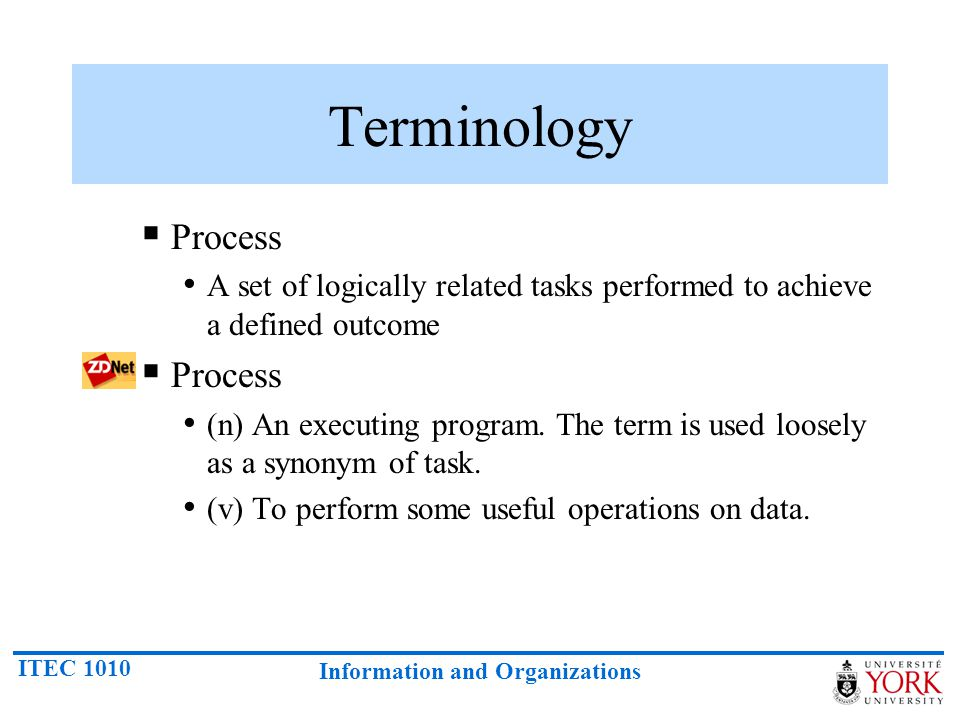 Terminology Process. A set of logically related tasks performed to achieve a defined outcome.