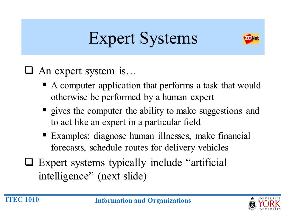 Expert Systems An expert system is…