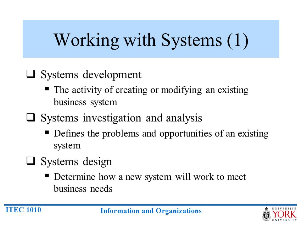 Working with Systems (1)