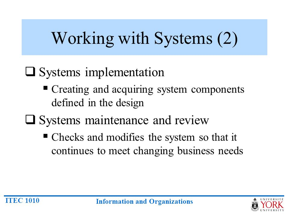 Working with Systems (2)
