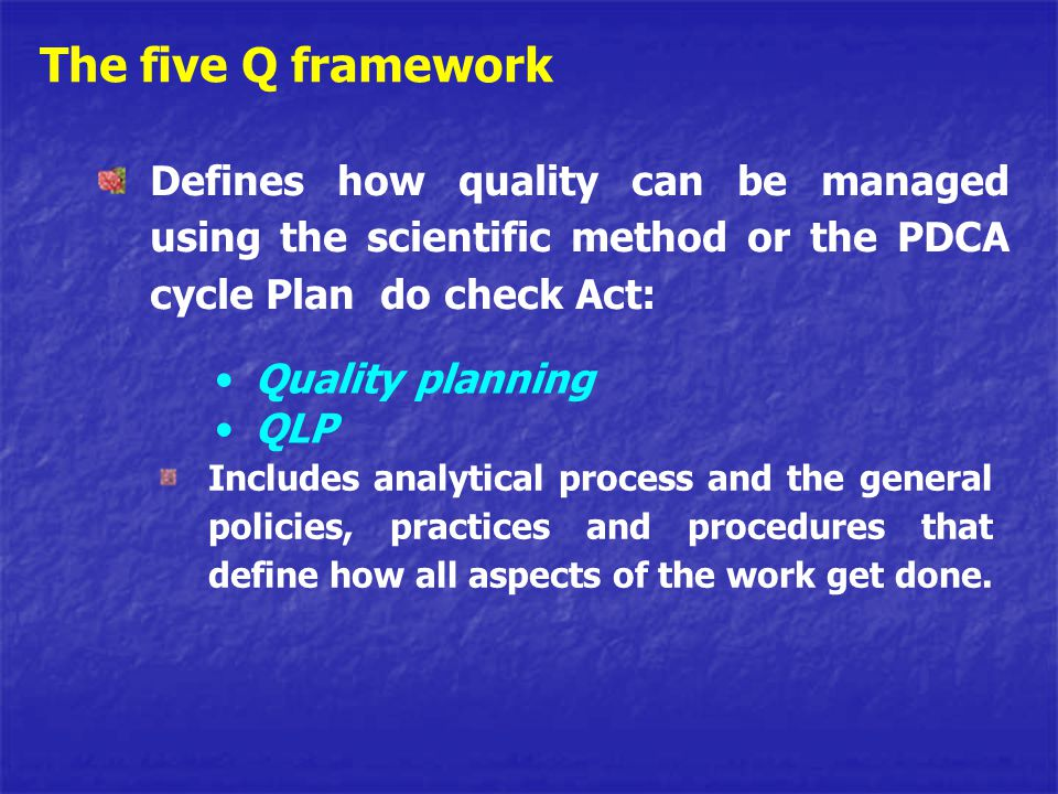 The five Q framework Defines how quality can be managed using the scientific method or the PDCA cycle Plan do check Act: