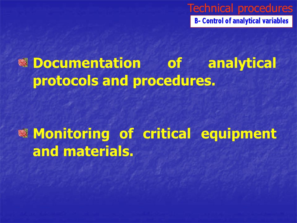 Documentation of analytical protocols and procedures.
