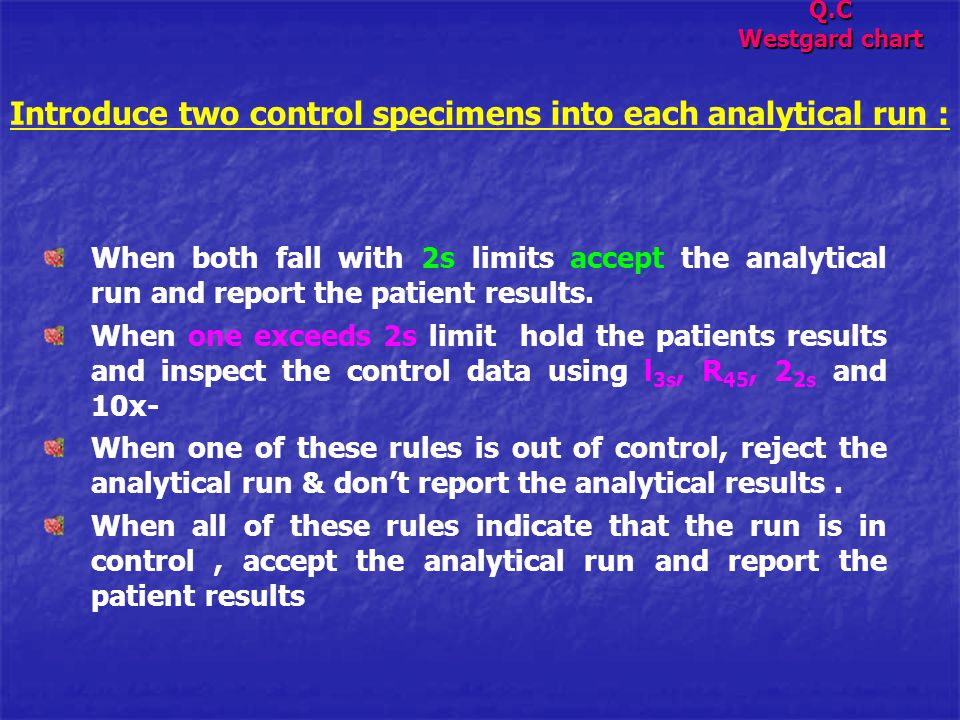Introduce two control specimens into each analytical run :