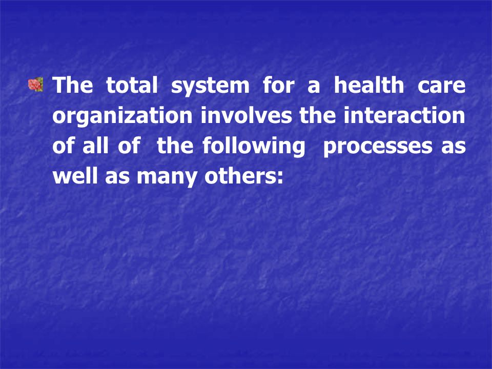 The total system for a health care organization involves the interaction of all of the following processes as well as many others: