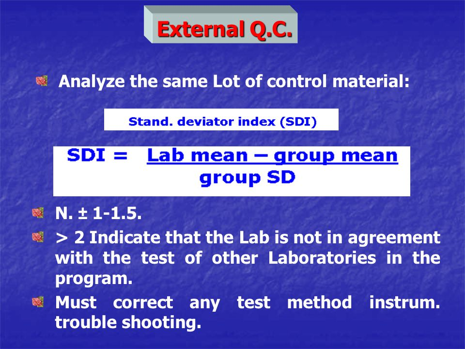 External Q.C. Analyze the same Lot of control material: N. ± 1-1.5.