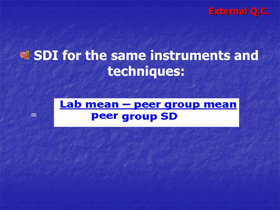 SDI for the same instruments and techniques: