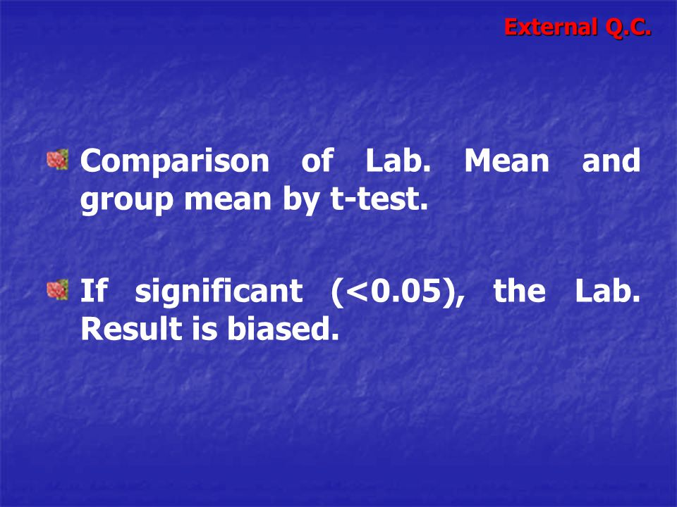 Comparison of Lab. Mean and group mean by t-test.
