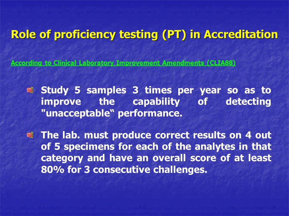 Role of proficiency testing (PT) in Accreditation