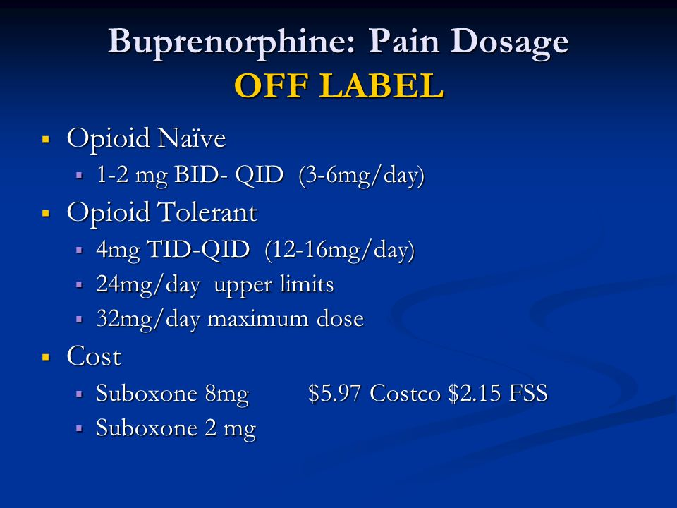 Buprenorphine: Pain Dosage OFF LABEL