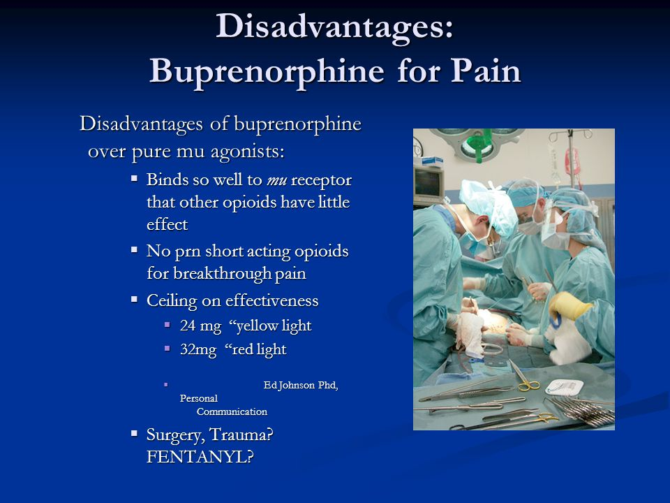 Disadvantages: Buprenorphine for Pain
