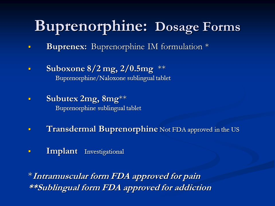 Buprenorphine: Dosage Forms