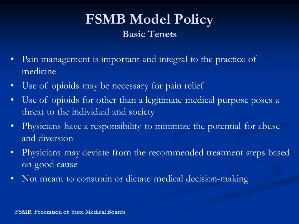 FSMB Model Policy Basic Tenets