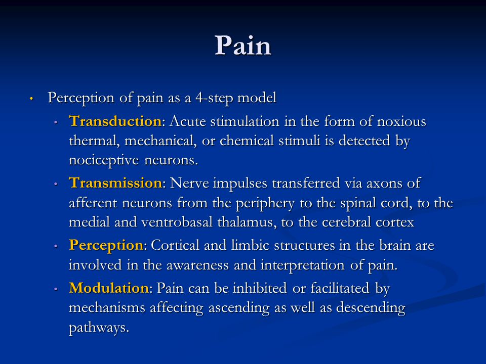 Pain Perception of pain as a 4-step model