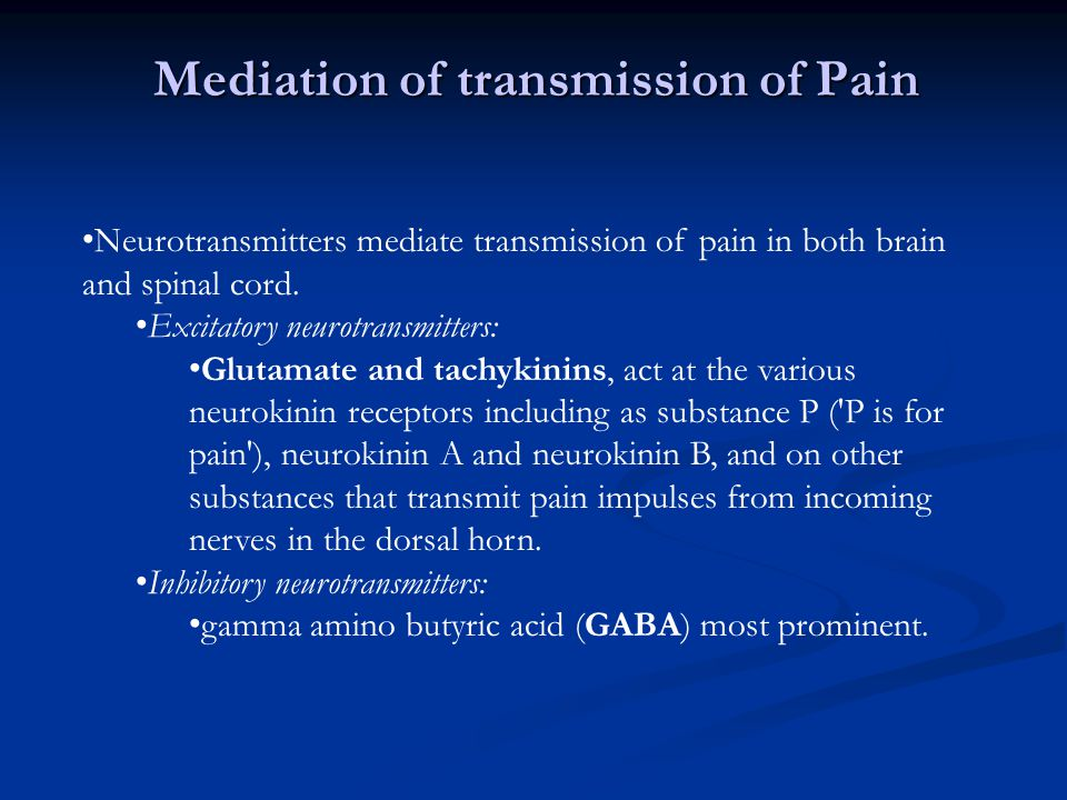 Mediation of transmission of Pain
