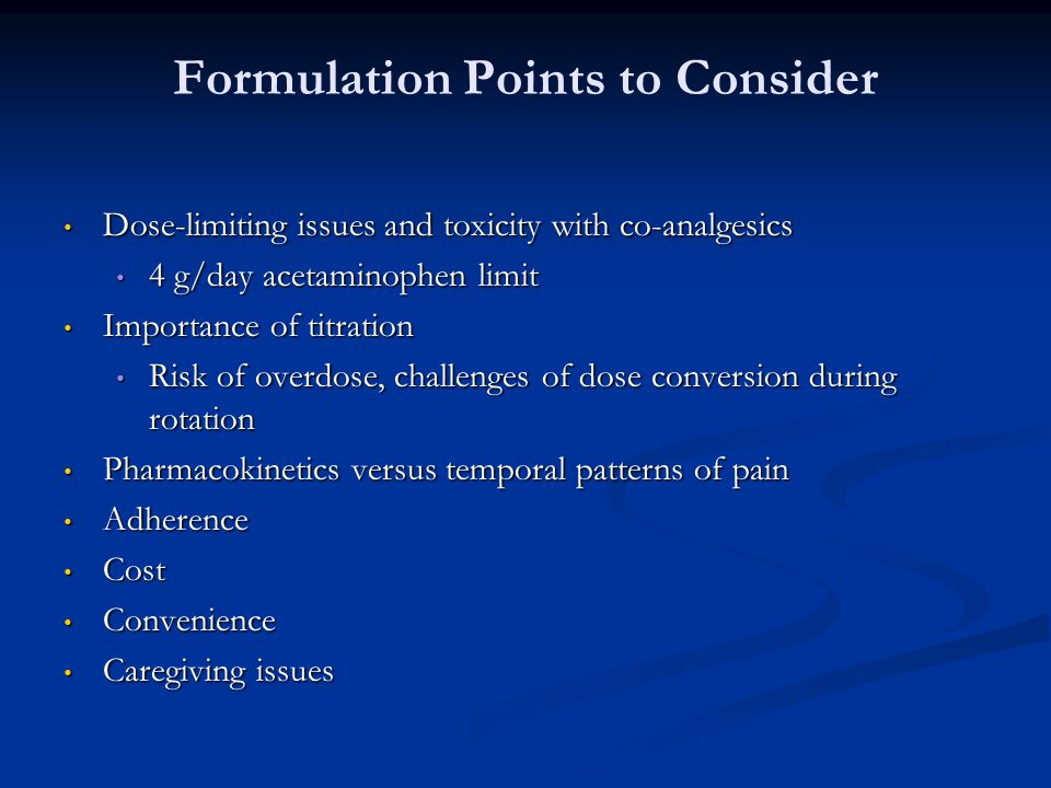 Formulation Points to Consider