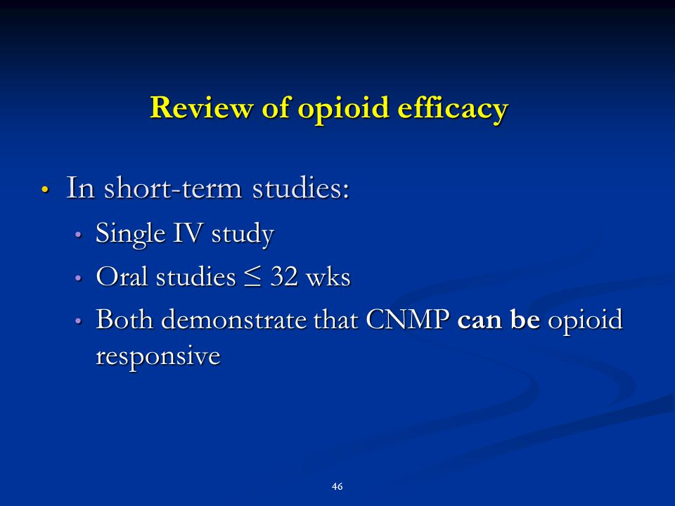 Review of opioid efficacy