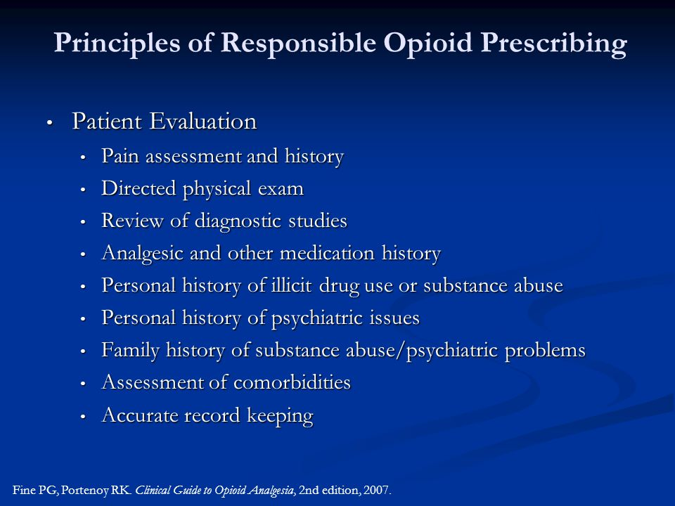 Principles of Responsible Opioid Prescribing